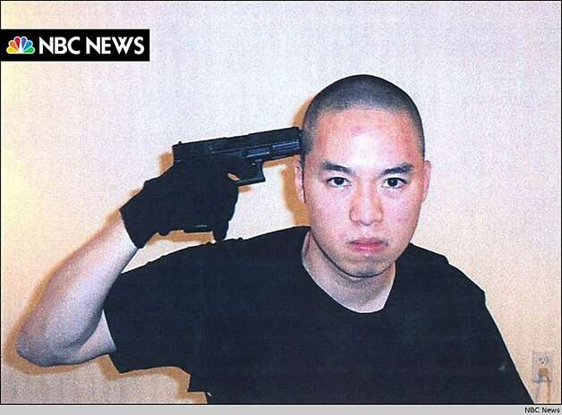 An image that NBC News say they received from Cho Seung-Hui, the shooter in the Virginia Tech shootings, is seen as it is aired on the NBC Nightly News, April 18, 2007. The gunman who went on a deadly rampage at Virginia Tech university paused between shootings to mail a rambling account of grievances, photos and videos to NBC, the network said. Photo: Reuters