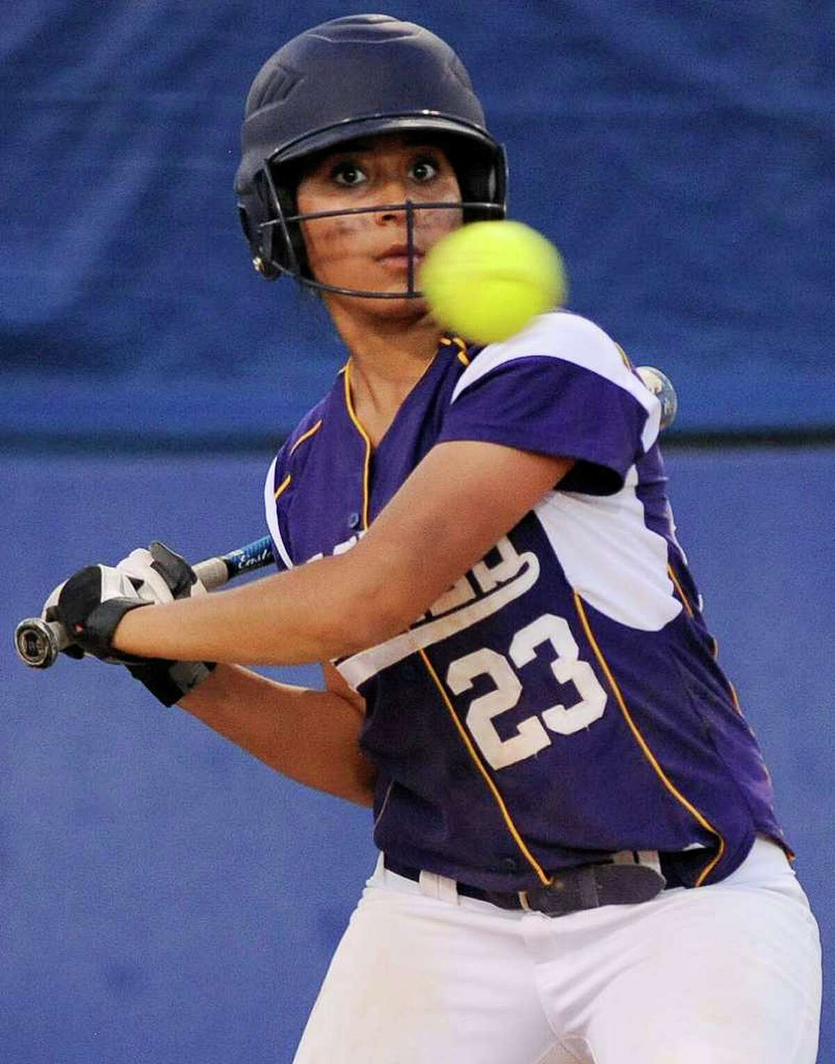 Brackenridge's Allie Castillo watches a high pitch sail by during a District 29-4A softball game against Southside, Monday, April 2, 2012, at the SAISD Sports Complex.