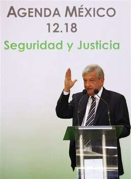 Presidential candidate Andres Manuel Lopez Obrador, of the Democratic Revolution Party (PRD), speaks during an event hosted by the non-governmental organization Mexico SOS, that advocates security and justice, in Mexico City, Monday April 2, 2012. The four candidates for Mexico's presidency officially launched their campaigns for the July 1 election on Friday, all of them promising change. (AP Photo/Alexandre Meneghini) Photo: Alexandre Meneghini, Associated Press / AP