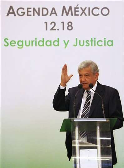 Presidential candidate Andres Manuel Lopez Obrador, of the Democratic Revolution Party (PRD), speaks