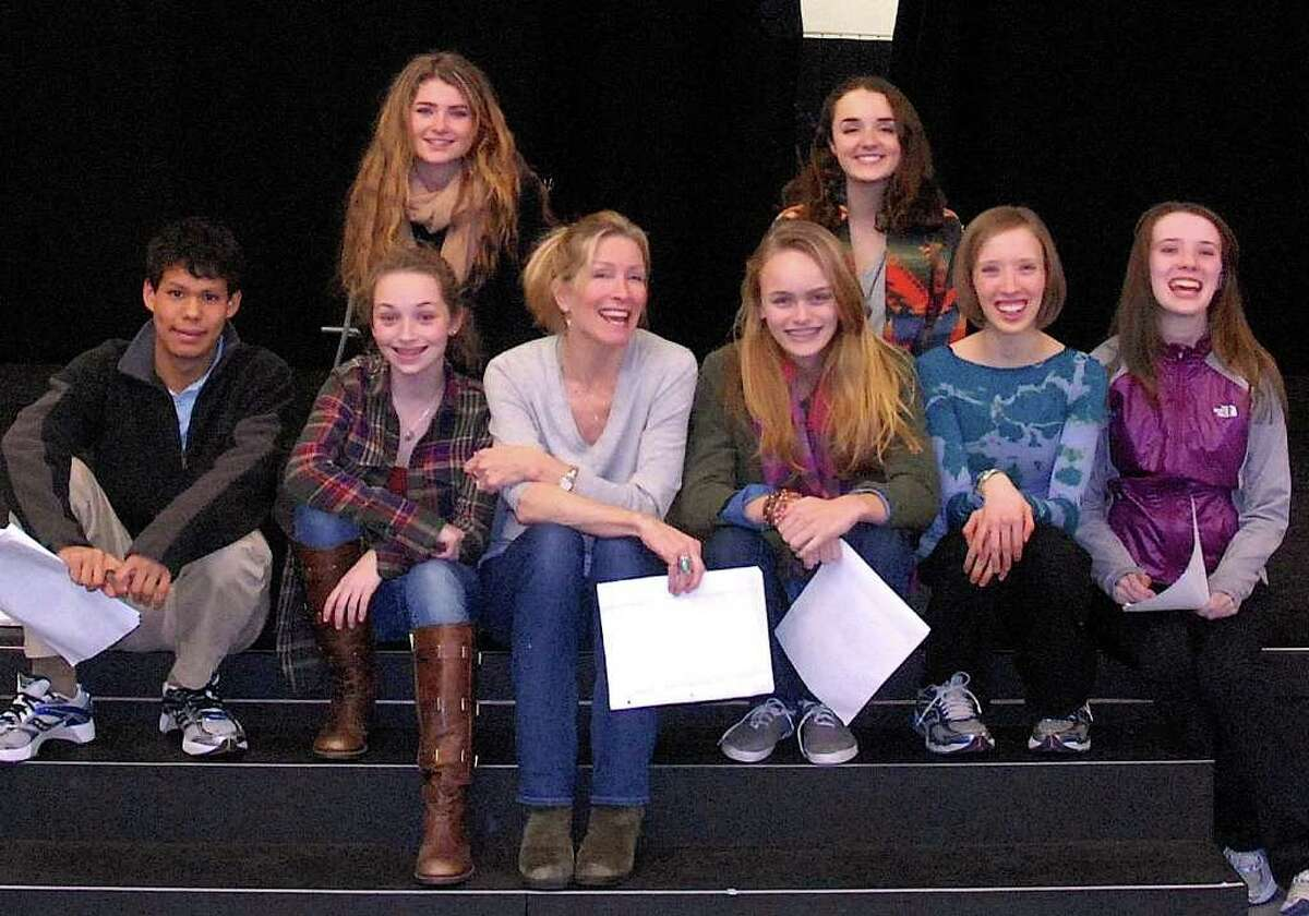 Performing Arts Conservatory of New Canaan high school acting class poses with professional actress and teaching artist, Anna Holbrook, center.