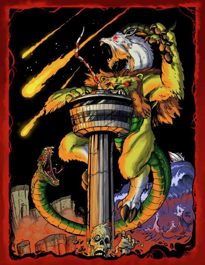 "ChimaeraCon 2012 promotional art by Matt Frank, one of the guests at the San Antonio convention that specializes in tabletop gaming. Frank illustrates ""Godzilla"" comic book covers. Photo: ChimaeraCon"