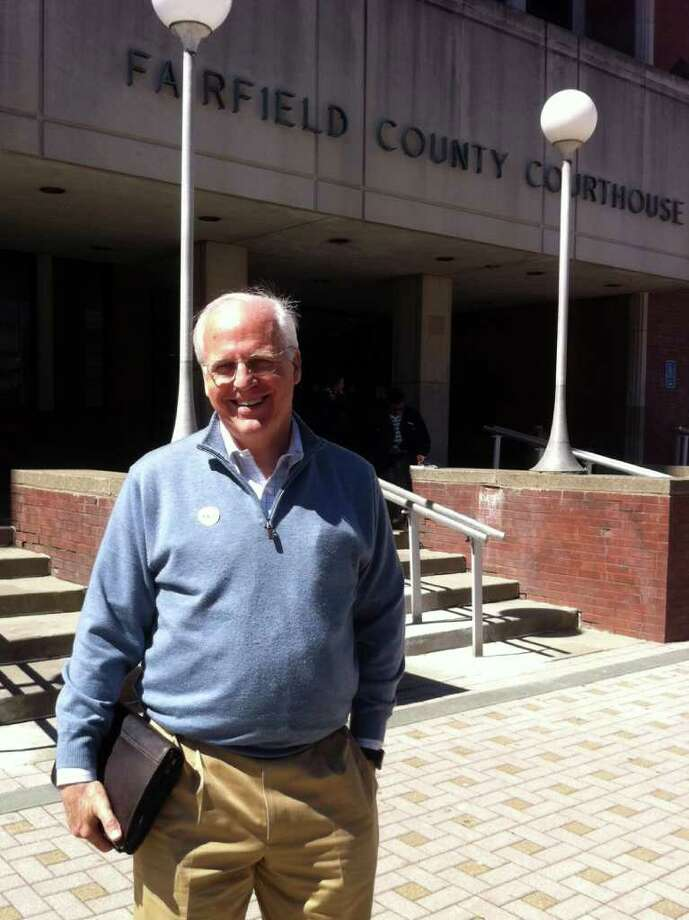 Christopher Shays, former U.S. representative and U.S. Senate hopeful, stands in front of Bridgeport Superior Court after being dismissed from jury duty Tuesday morning, April 3rd, 2012. Photo: Daniel Tepfer / Connecticut Post