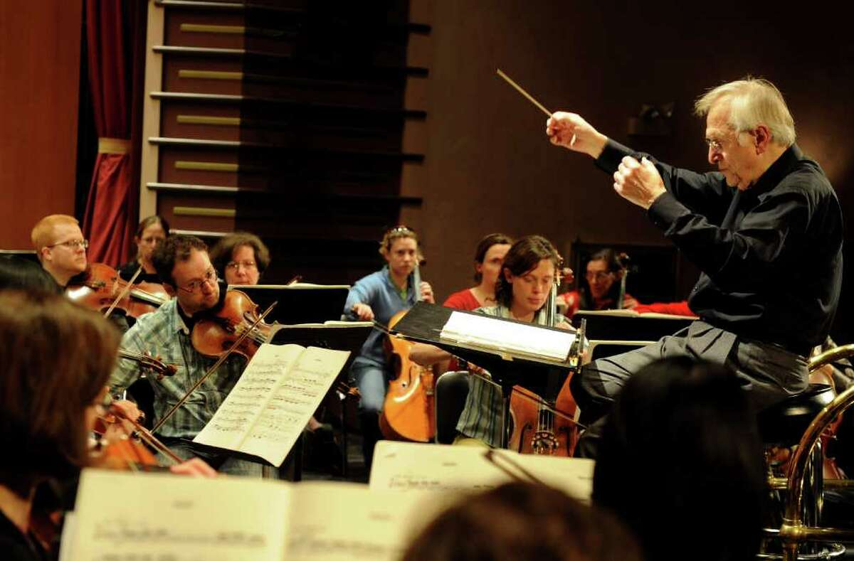 Gustav Meier conducts the Greater Bridgeport Symphony rehearsal at the Klein Memorial Auditorium in Bridgeport on Thursday, April 14, 2011.