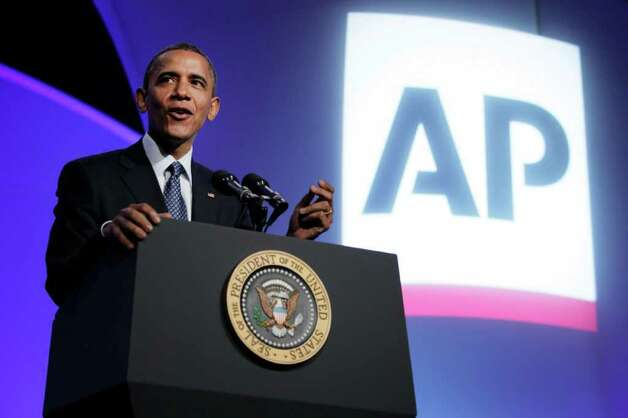 President Barack Obama gestures as he speaks at the Associated Press luncheon during the ASNE Convention, Tuesday, April 3, 2012, in Washington. Photo: AP