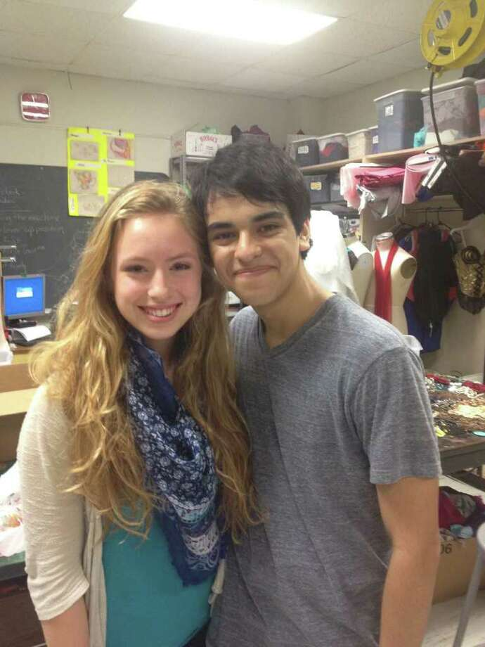 Costume designs by Joy Spence, 15, and a theater marketing project created by Richard Mendoza, 16, will be displayed at the state University Interscholastic League one-act play meet in May. Photo: HSPVA