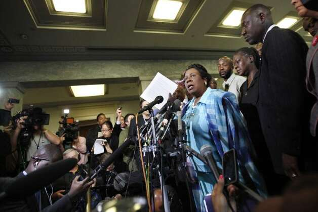 Rep. Sheila Jackson Lee speaks at a news conference with Trayvon Martin's parents after attending the House Judiciary Committee Democrats' briefing on racial profiling and hate crimes on March 27, 2012. (Jacquelyn Martin / The Associated Press)