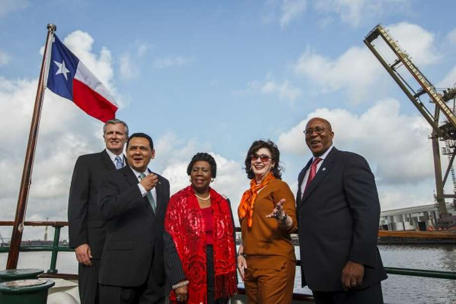Port Authority Interim Executive Director Col. Leonard D. Waterworth, Houston Mayor Pro Tem Ed Gonzalez, U.S. Congresswoman Sheila Jackson Lee, Port Commissioner Elyse Lanier and U.S. Trade Representative Ron Kirk aboard the MV Sam Houston on March 16, 2012, in Houston. (Michael Paulsen / Houston Chronicle)