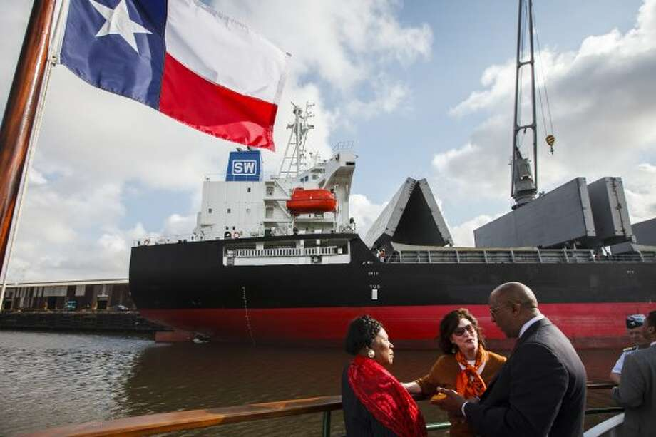 U.S. Trade Representative Ron Kirk speaks with Congresswoman Sheila Jackson Lee and Port Commissioner Elyse Lanier as they look at the Houston Ship Channel while aboard the MV Sam Houston on March 16, 2012, in Houston. (Michael Paulsen / Houston Chronicle)