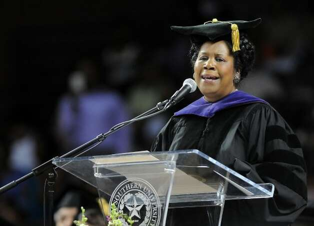 Congresswoman Sheila Jackson Lee speaks at the Texas Southern University Spring Commencement Saturday May 14, 2011. (Dave Rossman / For the Chronicle)