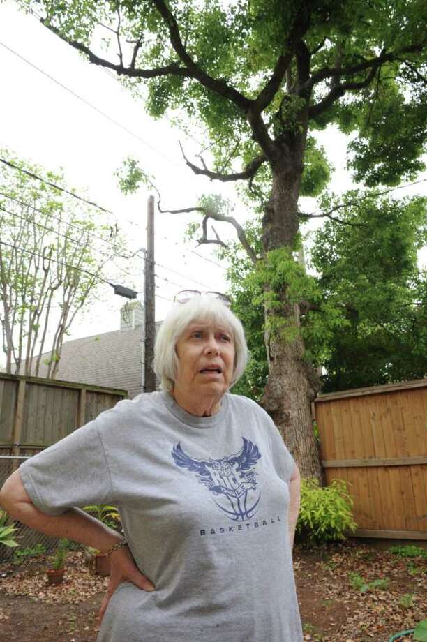 Woodland Heights resident Kay Van Cleave is upset with how contractors with CenterPoint trimmed her 100-year-old tree. Photo: Thomas Nguyen / Freelance