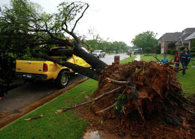 "A fallen tree crushes a  truck in  Arlington, Texas on Tuesday.  Several reported tornadoes tore through the Dallas area on Tuesday, tossing semis in the air and leaving crumpled tractor trailers strewn along highways and in truck stop parking lots.   The National Weather Service reported at least two separate ""large and extremely dangerous"" tornadoes south of Dallas and Fort Worth. Photo: AP"