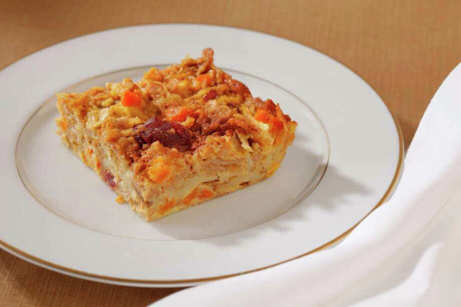 Matzo Kugel with Apples, Apricots & Cranberries as seen in San Francisco on March 28, 2011. Food styled by Stephanie Kirkland. Photo: Craig Lee / ONLINE_YES