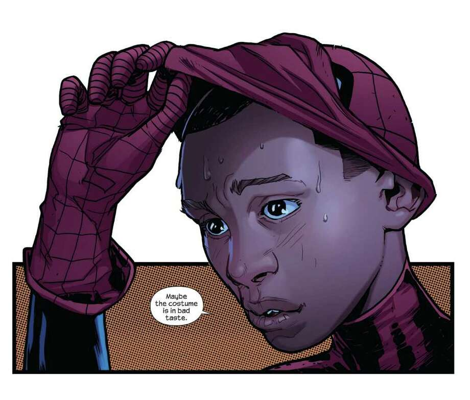 "In the ""Ultimate"" series (versus Marvel's main comic line), the mantle of wall-crawling hero Spider-Man has been taken up by the young, multiracial Miles Morales. / Marvel Comics"