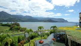 Unobstructed views of Hanalei Bay and Mount Makana are part of the appeal of celebrating a hidebound holiday like Thanksgiving in far-off Hawaii.