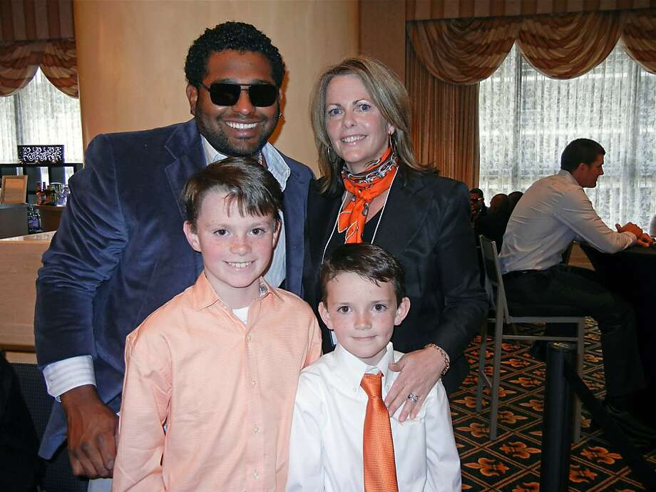 SF Giants infielder Pablo Sandoval and SF Giants Community Fund Board Chairwoman Kathleen Dowling McDonough with her Junior Giants sons, Colman (left) and Michael at the Play Ball Lunch. April 2012. By Catherine Bigelow. Photo: Catherine Bigelow, Special To The Chronicle