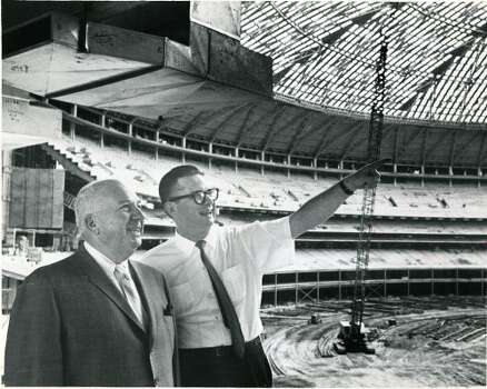 Colt .45 President Roy Hofheinz, right, shows National League president Warren Giles some features of the Astrodome in September 1964.  (Houston Chronicle)
