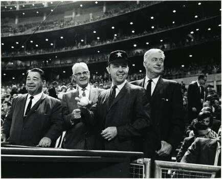 """Harris County  Commissioners and County Judge at Astrodome for 1966 Astros season opener: E. A. """"Squatty"""" Lyons, Phillip Sayers, County Judge Bill Elliott, V.V. """"Red"""" Ramsey.  (George Honeycutt / Houston Chronicle)"""