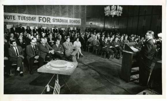 A large crowd attends a rally, January 26, 1961,  in support of passing the stadium bonds to finance construction of the proposed domed stadium (Astrodome). (Gordon Adkins / Houston Chronicle)