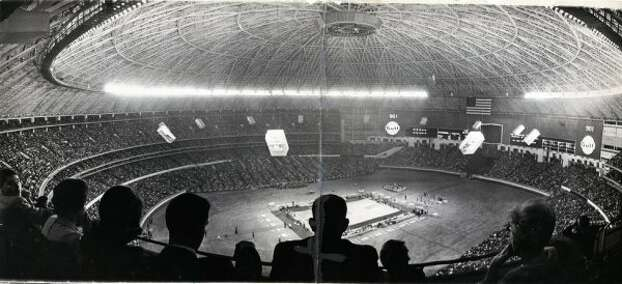 A record crowd of 52,693 saw Houston win the nation's basketball game of the year, UH vs. UCLA, in 1968. (Owen Johnson / Houston Chronicle)
