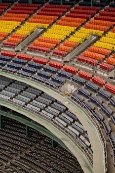 The world famous multicolored seats of the Astrodome. (Nick de la Torre / Houston Chronicle)