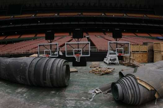 Rolled up Astro Turf and Final Four basketball goals are stored inside the Reliant Astrodome Tuesday, April 3, 2012, in Houston.   (Melissa Phillip / Houston Chronicle)