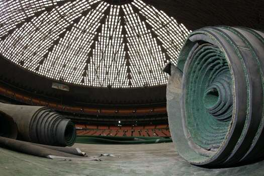 Rolls of Astro Turf are stored inside the Reliant Astrodome Tuesday, April 3, 2012, in Houston.  (Melissa Phillip / Houston Chronicle)