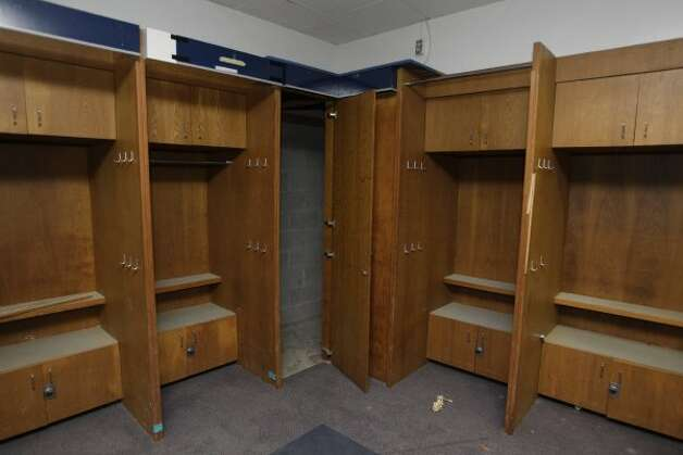 Locker room area formerly used by the Houston Astros at Reliant Astrodome shown Tuesday, April 3, 2012, in Houston. The two center lockers were used once by Nolan Ryan.  (Melissa Phillip / Houston Chronicle)