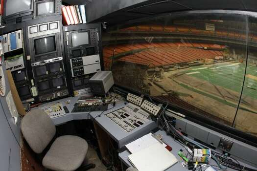 Items remain in the video control booth at the Reliant Astrodome Tuesday, April 3, 2012, in Houston.  (Melissa Phillip / Houston Chronicle)
