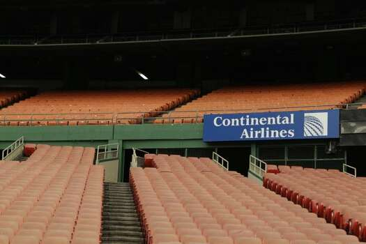 Stadium seating and Continental Airlines signage is seen in Reliant Astrodome Tuesday, April 3, 2012, in Houston. (Melissa Phillip / Houston Chronicle)