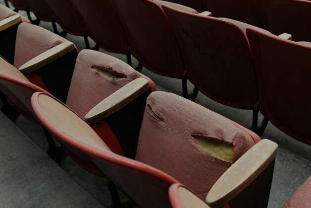 View of damaged stadium seats seen in Reliant Astrodome Tuesday, April 3, 2012, in Houston.  (Melissa Phillip / Houston Chronicle)