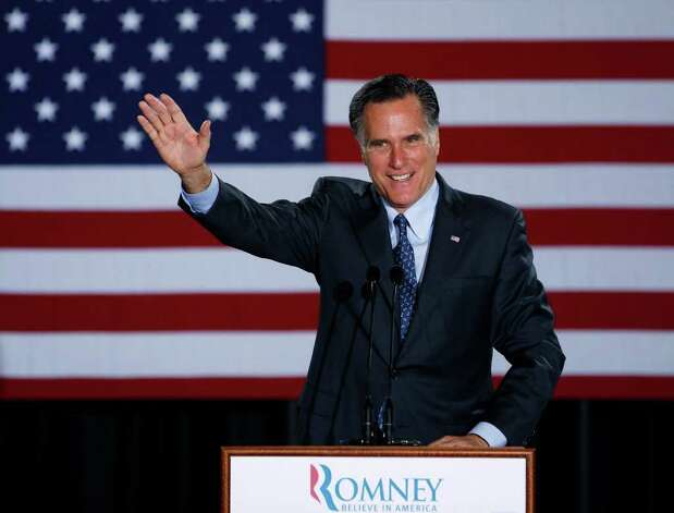 Republican Presidential candidate, former Massachusetts Gov. Mitt Romney declares victory in the Wisconsin presidential primary, Tuesday, April 3, 2012, at the Grain Exchange in Milwaukee. (AP Photo/M. Spencer Green) Photo: M. Spencer Green