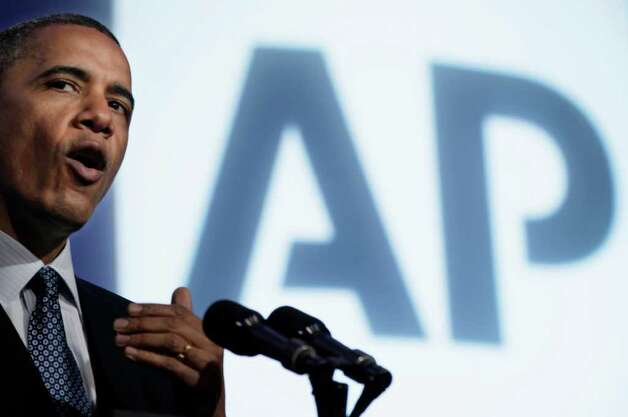 President Barack Obama speaks at The Associated Press luncheon during the ASNE Convention, Tuesday, April 3, 2012, in Washington. (AP Photo/Carolyn Kaster) Photo: Carolyn Kaster