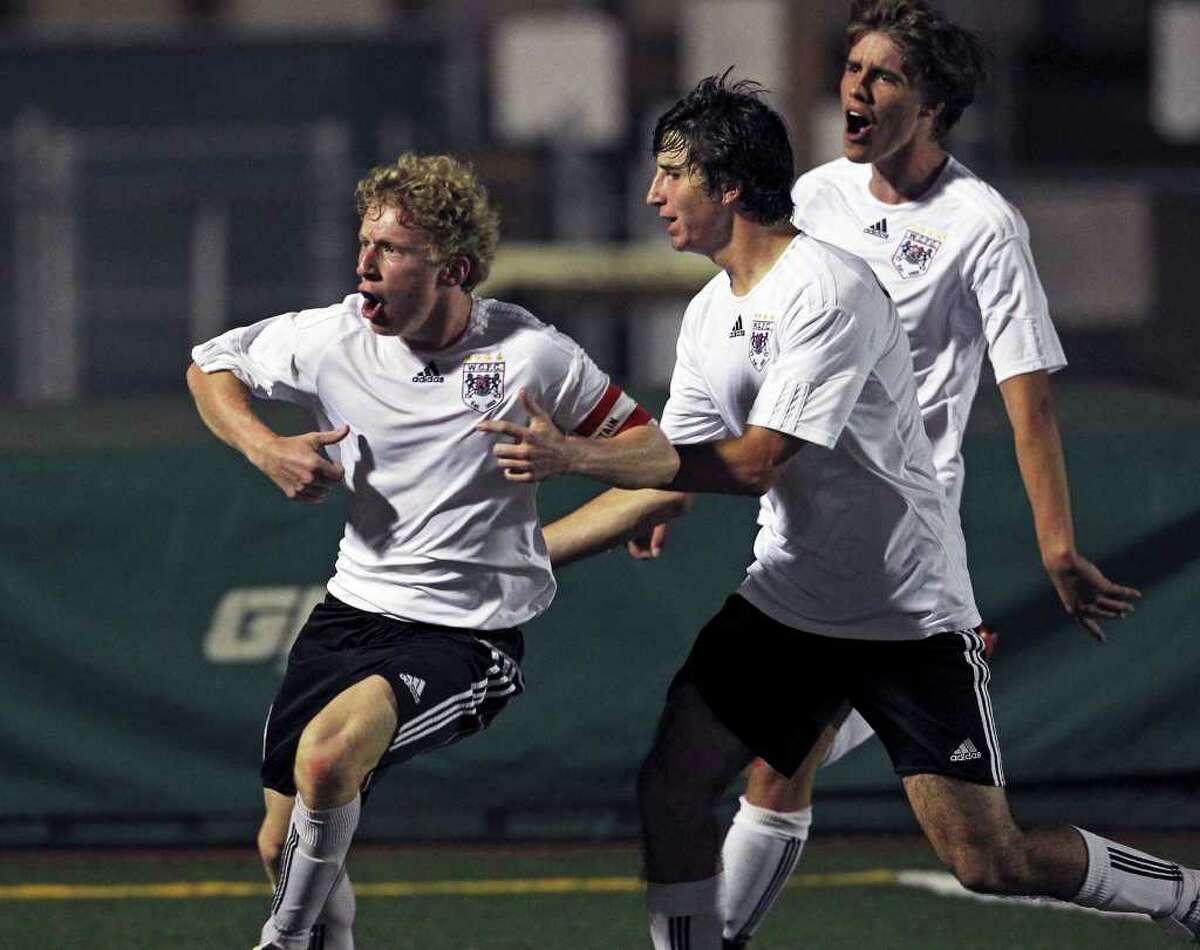 Churchill's Zach Berger celebrates his goal in the second half as Churchill plays Steele in boys and girls playoff soccer at Comalander Stadium on April 3, 2012. Tom Reel/ San Antonio Express-News