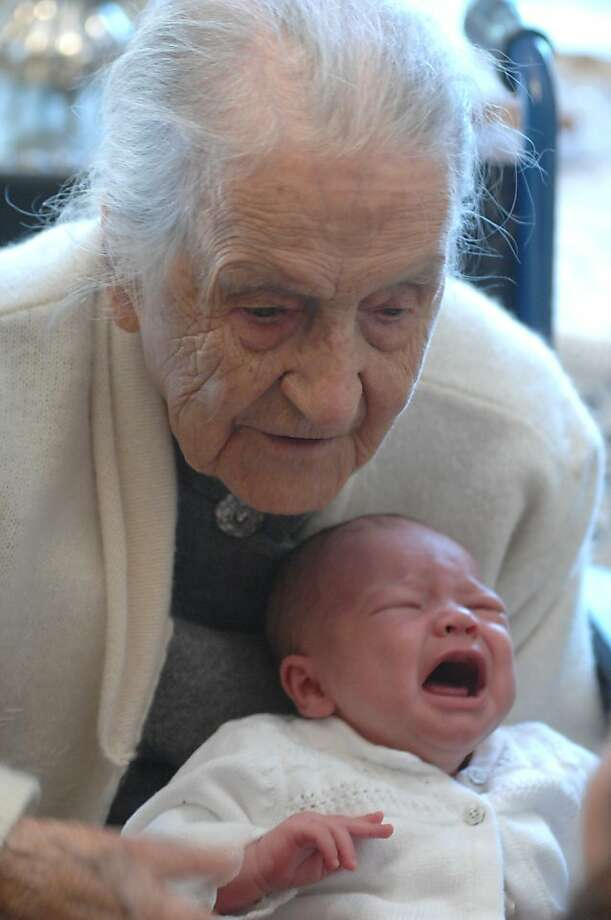 In this 2008 photo, Dr. Leila Denmark celebrates her 110th birthday with her great-granddaughter, one-month-old Grace Irene Brooks, in Athens, Ga. Family members say Denmark, who was the world's oldest practicing physician when she retired at age 103, died Sunday, April 1, 2012 in Athens, Ga. She was 114. (AP Photo/Athens Banner Herald, Trevor Frey)   MANDATORY CREDIT MAGS OUT TV OUT Photo: Trevor Frey, Associated Press