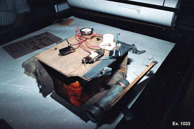 Evidence photo of a bomb which is being asked to be preserved during today's case for independent testing. Today marks the 20th anniversary of the 1990 Cloverdale car bombing.  This bomb was found five days before the Cloverdale car bombing outside the office of the Louisiana Pacific sawmill in Cloverdale, Calif., and is similar to Judi Bari's bomb. Photo: Courtesy Of Ben Rosenfeld