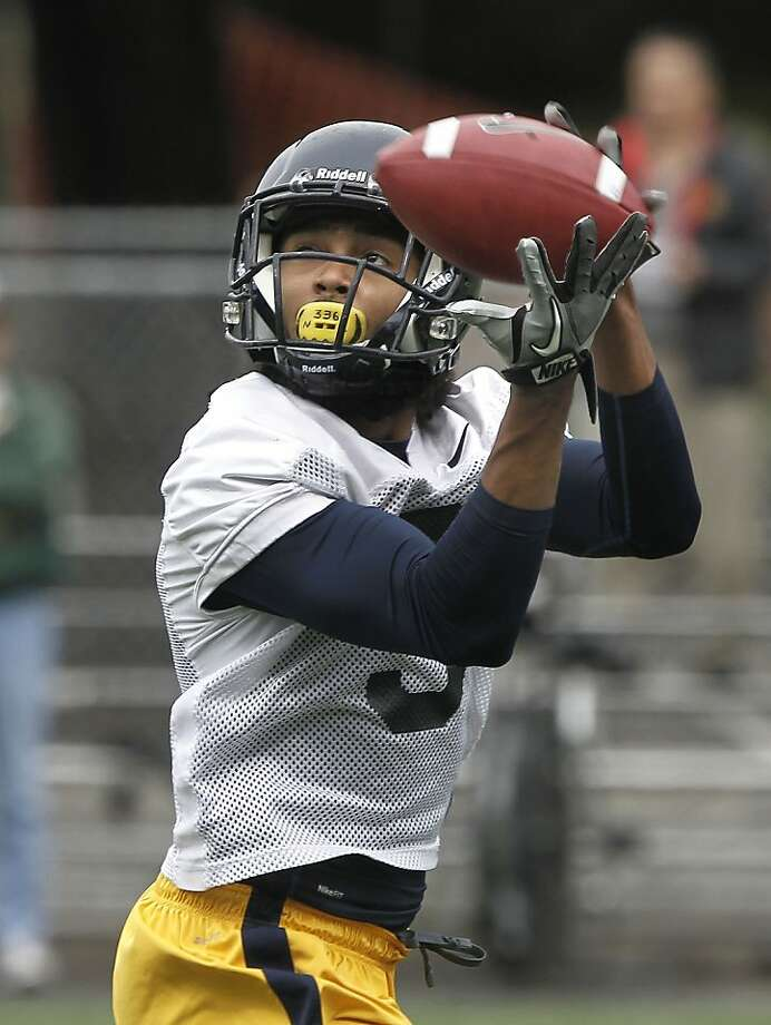 Wide receiver, Maurice Harris, (3) pulls in a pass during drills, as CAL football holds an open spring football practice on Saturday March 17, 2012, in Berkeley, Ca. Photo: Michael Macor, SFC