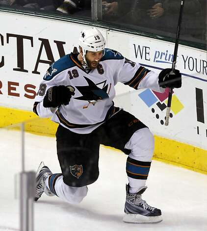 San Jose Sharks center Joe Thornton (19) celebrates after scoring the Shark's fourth goal of the game during the third period of a NHL hockey game between the Dallas Stars and the San Jose Sharks on Tuesday, April 3, 2012, in Dallas. San Jose won 5-2. Photo: John F. Rhodes, Associated Press