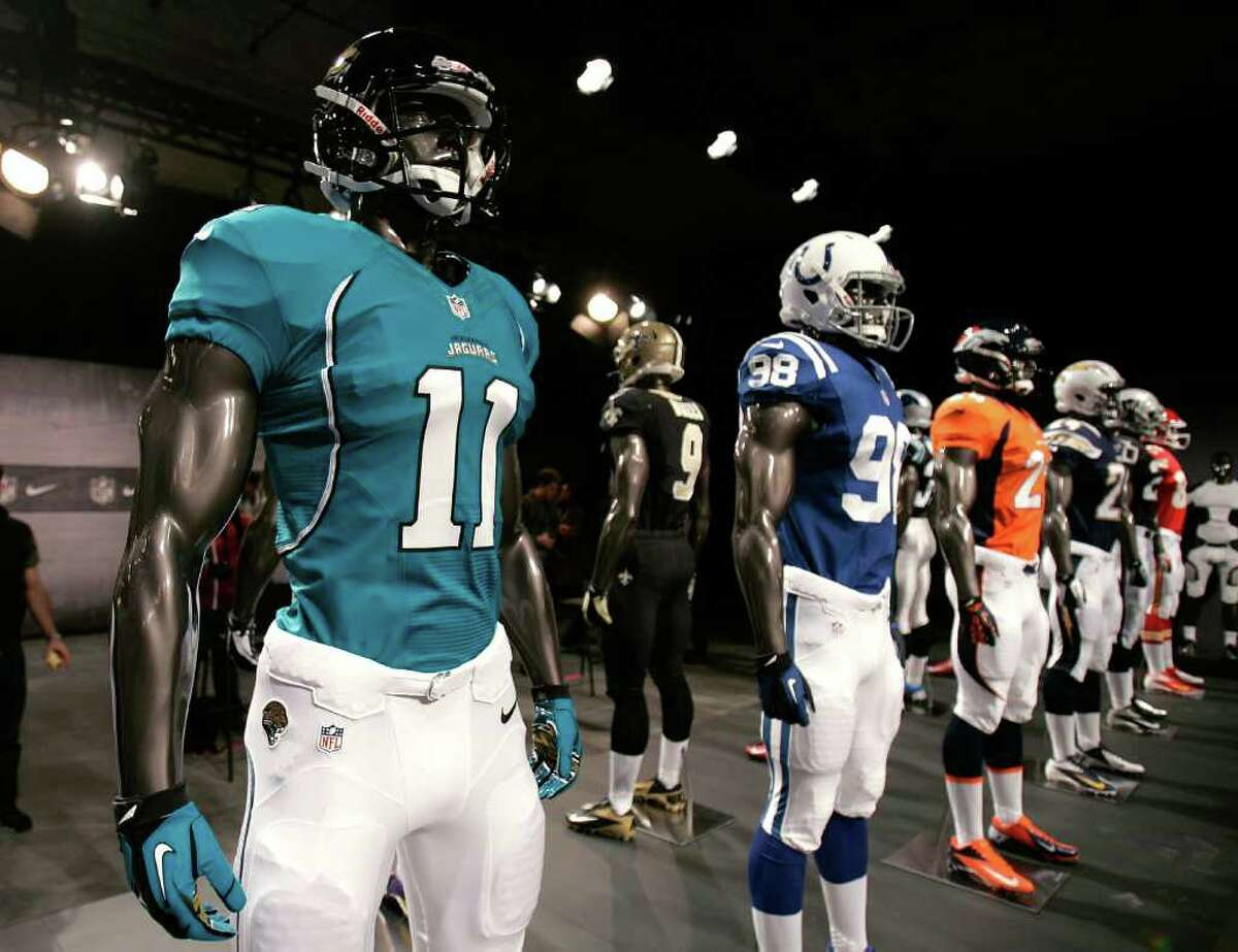 NEW YORK, NY - APRIL 03: The new Jacksonville Jaguars and other team jerseys are displayed during the unveiling by Nike as they begin their partnership with the NFL at Steiner Studios on April 3, 2012 in New York City.