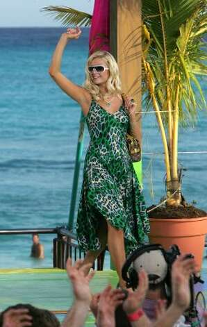 CANCUN, MEXICO - MARCH 10:  (U.S. TABS OUT)  Model Paris Hilton appears onstage during a taping for MTV Spring Break on the beach at The City nightclub March 10, 2005 in Cancun, Mexico.  (Photo by Scott Gries/Getty Images) (Getty Images)