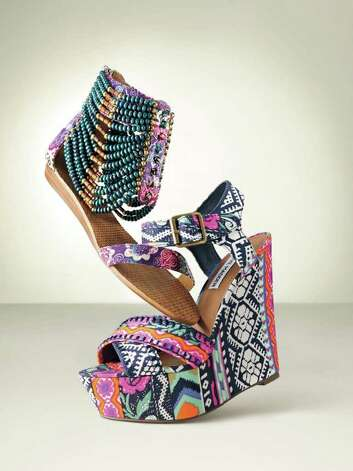 gllook: Report  Valdez  beaded sandal, canvas, purple-multi, $89.95. Steve Madden printed wedge, textile/synthetic, bright-multi, $99.95. Both in BP. Shoes at Nordstrom and nordstrom.com. Photo: Nordstrom