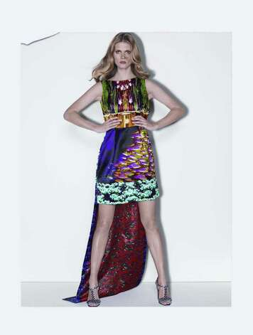 gllook: Mary Katrantzou Sheath dress with train, silk, acetate/elastane lining, $4,795. In Collectors at Nordstrom. Photo: Nordstrom