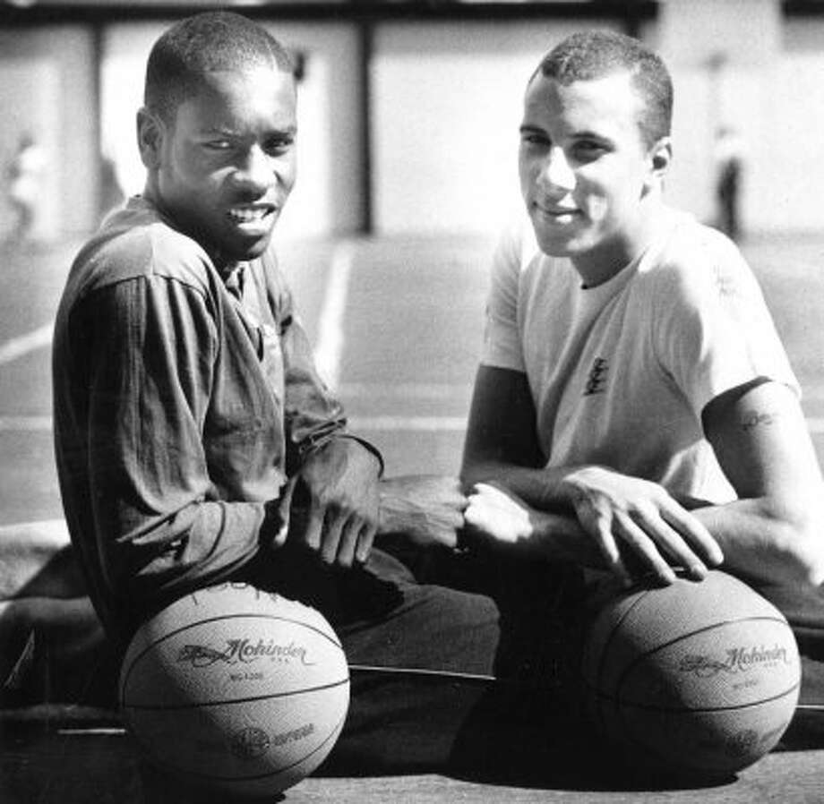 Here's Gary Payton in his senior year at Skyline High. The stellar point guard was a nine-time NBA All-Star and is considered one of the best players ever at his position. The other fellow in the picture is high school teammate Greg Foster who had a lengthy NBA career mainly as a backup.