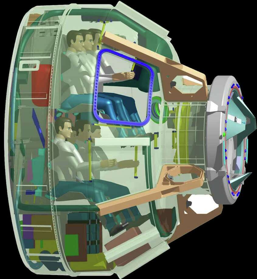 A transparent view of Boeing's Crew Space Transportation (CST)-100 system, showing it carrying a crew of seven. Photo: Generated By Dassault Systèmes Software, Boeing