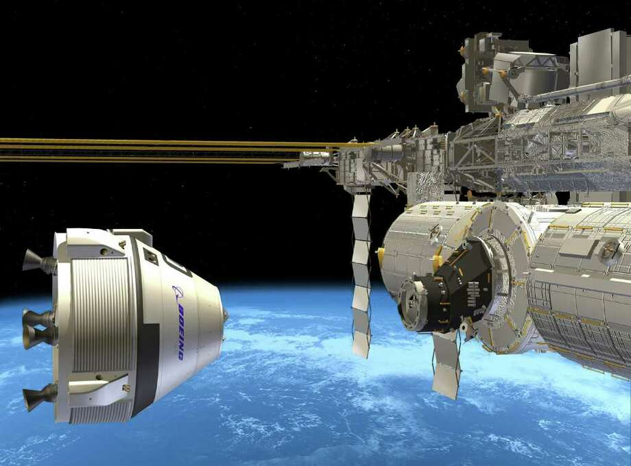 Boeing's Crew Space Transportation (CST)-100 shown approaching the International Space Station in this artist's depiction. Photo: Boeing