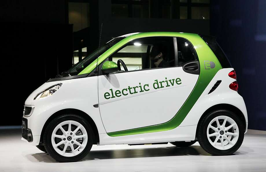 A 2013 Mercedes-Benz electric drive Smart Car is displayed, Wednesday, April 4, 2012 at the New York International Auto Show. (AP Photo/Mark Lennihan) Photo: Mark Lennihan, Associated Press