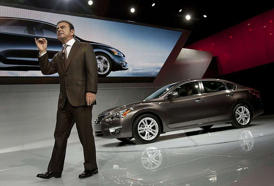 Carlos Ghosn, chairman and chief executive officer of Nissan Motor Co., introduces the Altima vehicle during a news conference at the New York International Auto Show in New York, U.S., on Wednesday, April 4, 2012. Nissan Motor Co.'s struggle to move ahead of Honda Motor Co. in the U.S. hangs on the new Altima, designed to boost the sedan's appeal after it passed Accord in 2011 to become the No. 2-selling car. Photographer: Scott Eells/Bloomberg *** Local Caption *** Carlos Ghosn Photo: Scott Eells, Bloomberg