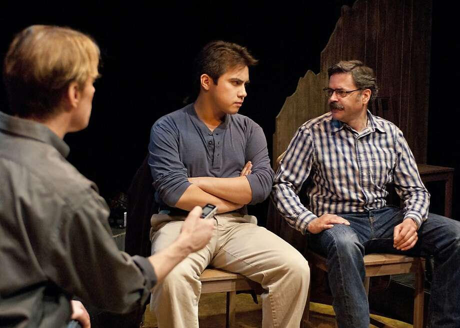 "Andy Paris (Alex Hero, left) interviews two sheriffs (Sal Mattos and Timothy Beagley) who investigated the murder of Matthew Shepard in New Conservatory Theatre Center's production of ""The Laramie Project: Ten Years Later"" Photo: Lois Tema"