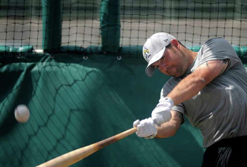 Cody Decker takes batting practice at Wolff Stadium during the 2012 San Antonio Missions media day on Wednesday, April 4, 2012. Billy Calzada / San Antonio Express-News