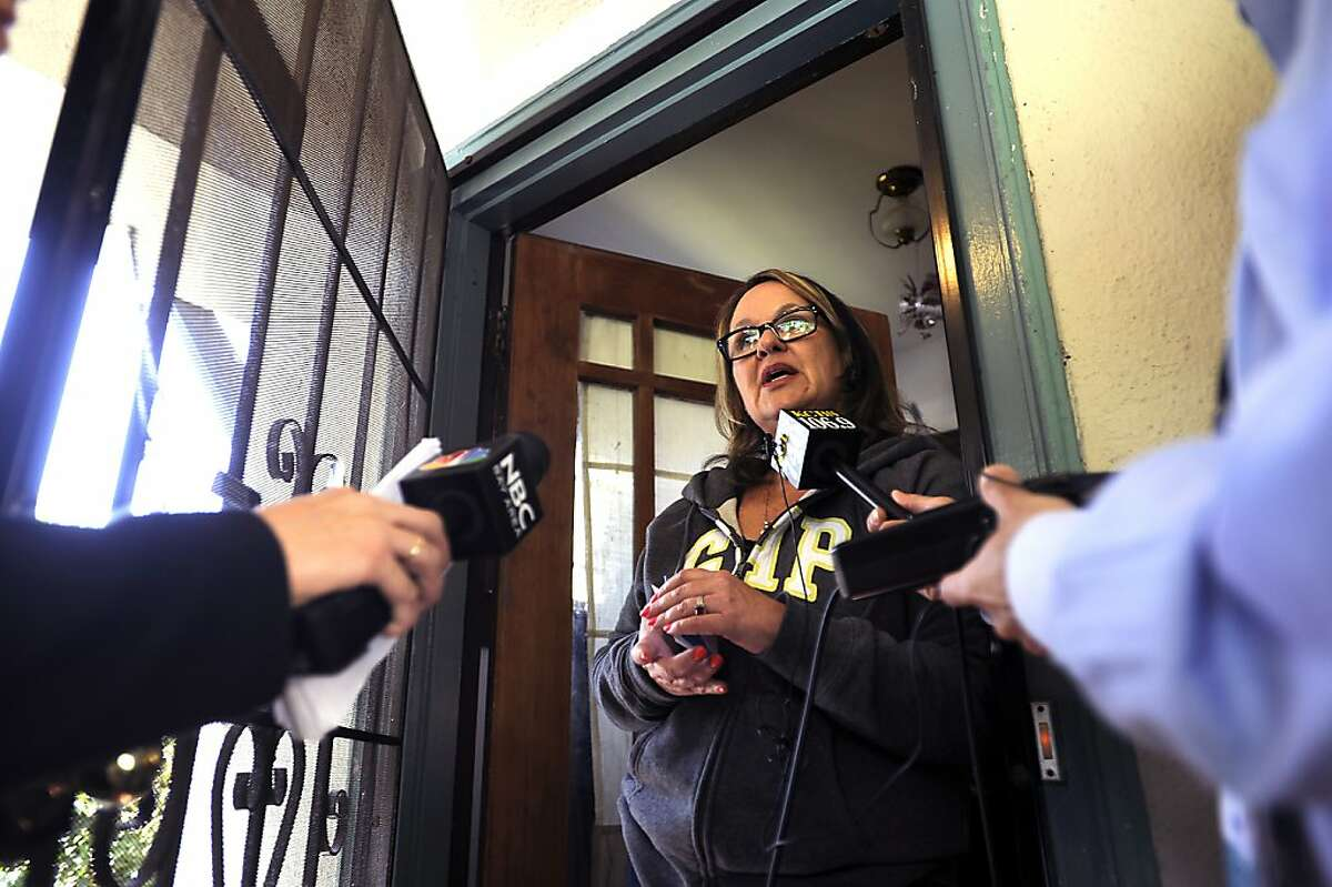 Long time friend Linda Music speaks with the media at the home of Oikos Administrator Ellen Cervellon in the Piedmont area of Oakland CA Wednesday, April 4th, 2012. Ellen Cervellon was an alleged target of Oikos University shooting suspect One Goh.